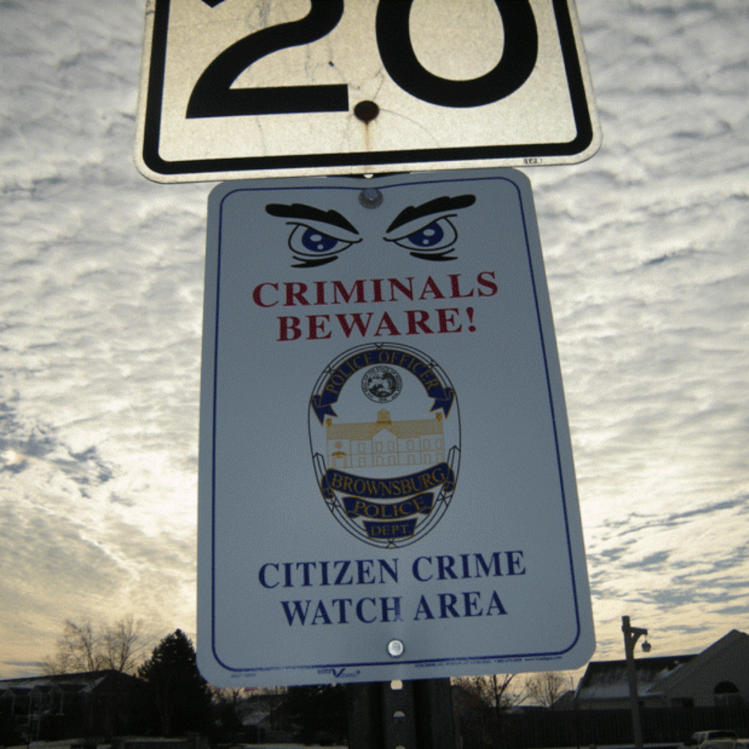 Brownsburg Crime Watch Neighborhood Sign